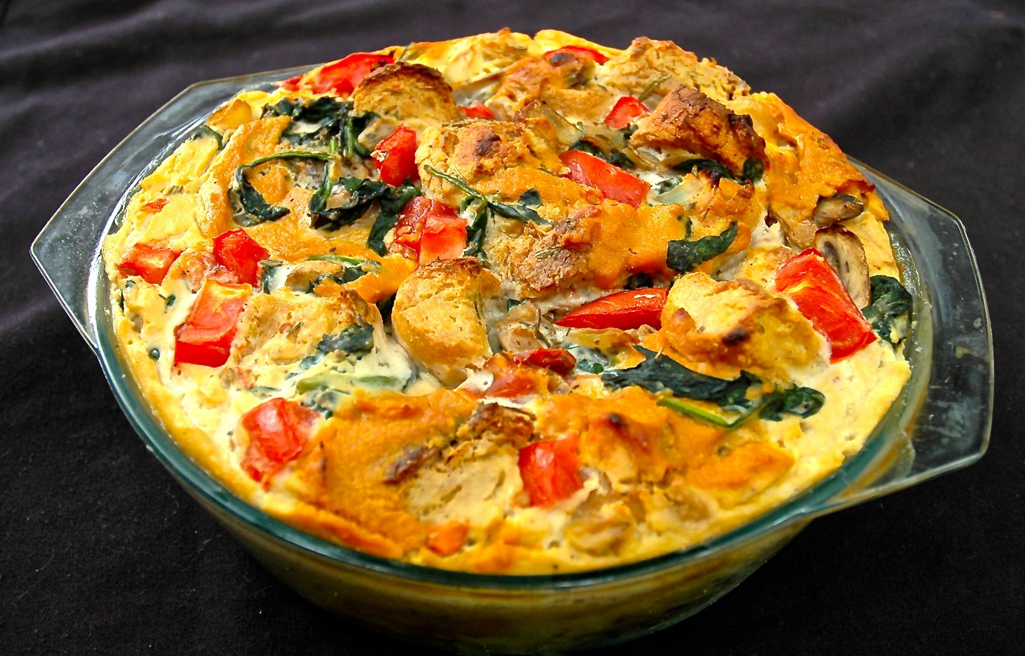 Spinach, Mushroom, and Tomato Sama SPREAD Strata